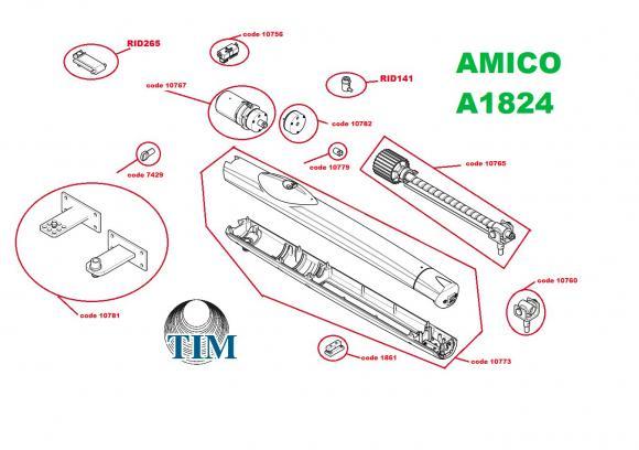 Pièces détachées pour Moteur CAME AMICO A1824