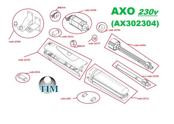 Pièces détachées pour Moteur CAME AXO AX302304 (230v)
