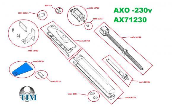 Pièces détachées pour Moteur CAME AXO AX71230 (230v)