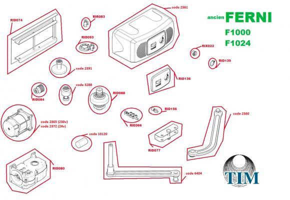Pièces détachées pour Moteur CAME FERNI F1000 + F1024